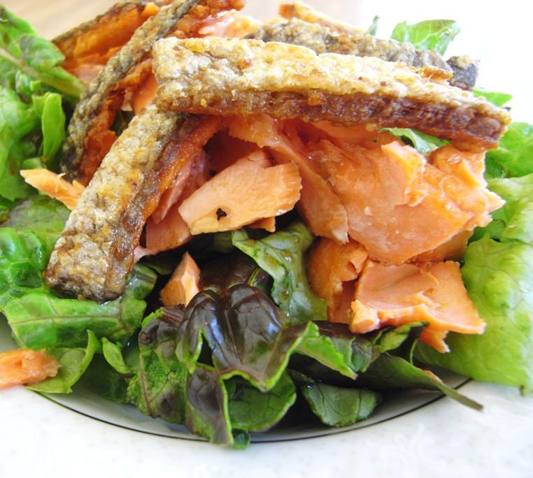 Grilled Salmon Greek Salad with Lemon Basil Dressing